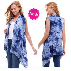 NEW Womens Blue Tie-Dye Cardigan Vest Kimono